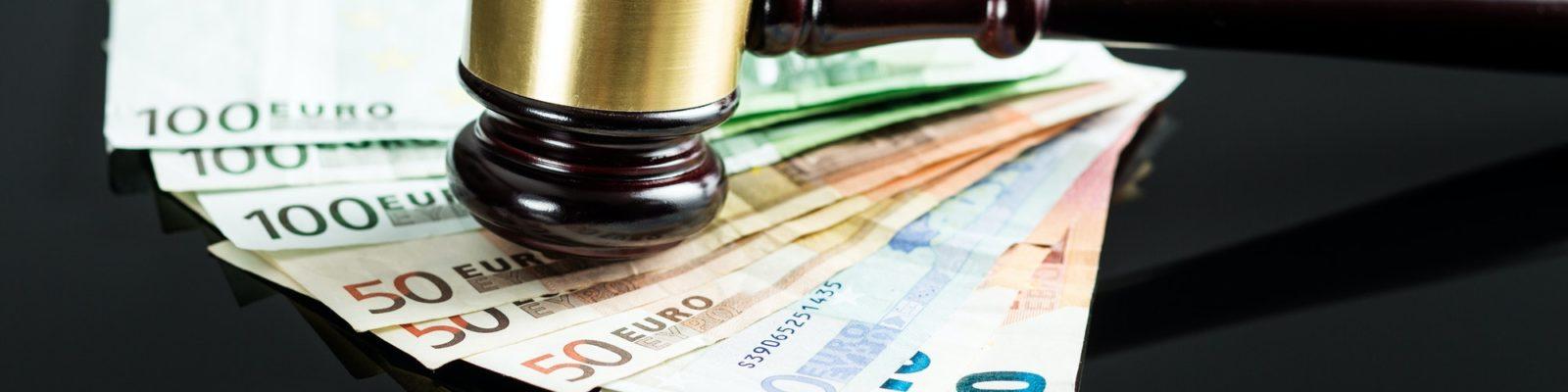 Gavel and euro money.
